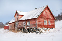 Norway, traditional rural wooden house in ruins Royalty Free Stock Photo