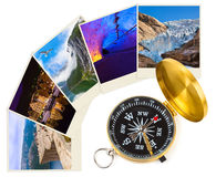 Norway travel images and compass (my photos) Stock Photos