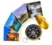 Norway travel images and compass (my photos) Stock Image