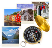 Norway travel images and compass (my photos) Stock Photo