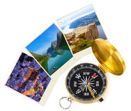Norway travel images and compass my photos Royalty Free Stock Photography