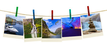 Norway travel photography on clothespins Royalty Free Stock Photography