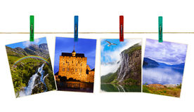 Norway travel photography on clothespins Stock Photography