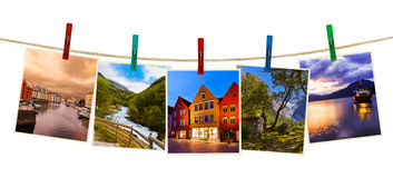Norway travel photography on clothespins Stock Photos