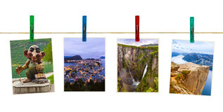 Norway travel photography on clothespins Royalty Free Stock Image