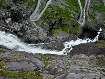 Norway-Troll trail and waterfall Royalty Free Stock Photos