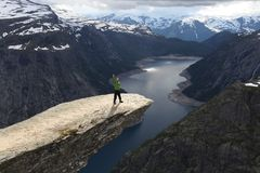 Norway Trolltunga tourist stock image