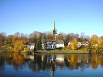Norway Trondheim. Trondheim in Norway in autumn with the river beautiful Stock Photo