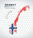 Norway vector map with flag inside isolated on a white background. Sketch chalk hand drawn illustration. Vector sketch map of Norway with flag, hand drawn chalk vector illustration