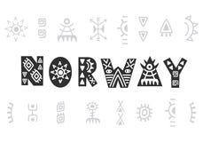 norway Vektorhandbokstäver som isoleras på vit vektor illustrationer