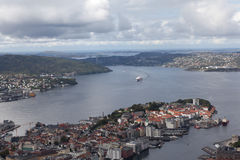 Norway. View over Bergen from Mount Flay. Stock Photos