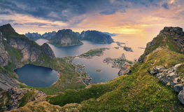 Norway. View from Reinebringen at Lofoten Islands, located in Norway, during summer sunrise stock images