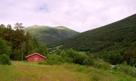 Norway village. A village surrounded by green forested mountains in Norway Stock Image