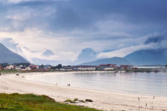 Norway village in fjord. Cloudy Nordic day. Royalty Free Stock Images