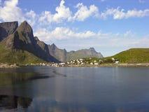Norway village in Lofoten bay landscape Stock Images