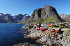 Norway village with mountain - Lofoten, Reine Royalty Free Stock Photography