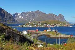 Norway village with mountain - Lofoten, Reine Stock Photo