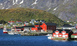 Norway village with mountain - Lofoten, Reine stock photography