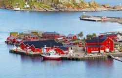 Norway village in sea, Lofoten Stock Photos