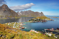 Norway village in sea, Lofoten Royalty Free Stock Photos