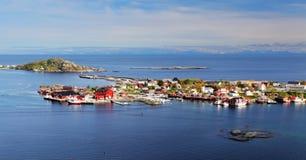 Norway village in sea, Lofoten Royalty Free Stock Photo