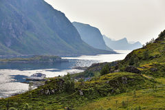 Norway villages in fjord. Cloudy Nordic day. Stock Photography