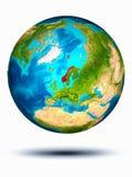 Norwegen auf Erde mit weißem Hintergrund Lizenzfreies Stockfoto