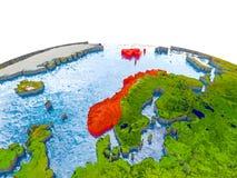 Norwegen auf Modell von Erde Stockbilder