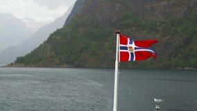Norwegen fahnenschwenkend auf Hintergrund von Fjord Norwegen stock video footage