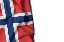 Norwegen knitterte Flagge, Raum für Text Lizenzfreie Stockbilder