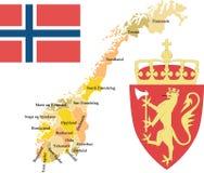 Norwegen mit Grafschaften. Lizenzfreies Stockfoto