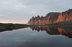 Norwegen, Sonnenuntergang Stockfotografie