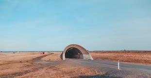 Norwegen Vardo, Eingang zum Tunnel, der unter das Meer zur Insel von Vardo geht Lizenzfreies Stockbild
