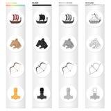 Norwegen, Viking, Attribute und andere Netzikone in der Karikaturart Legierung, Instrument, Fighting, Ikonen in der Satzsammlung stock abbildung