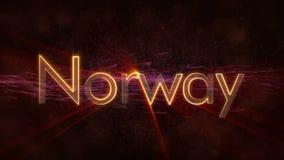 Norwegen zu Norge - glänzende Schleifungsländername-Textanimation vektor abbildung