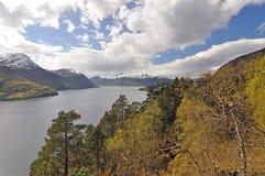 Norwegia błękitny fiordów gór natury norwegu niebo Obrazy Royalty Free