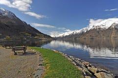 Norwegia błękitny fiordów gór natury norwegu niebo Obrazy Stock