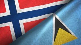Norwegia Lucia i święty dwa flagi tekstylny płótno, tkaniny tekstura royalty ilustracja