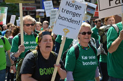 Norwegian Agrarian Association. Norwegian farmers protest the Norwegian government's agricultural policies during a rally organized by the Norwegian Agrarian Royalty Free Stock Images