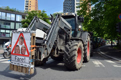 Norwegian Agrarian Association. A tractor convoy in Oslo during a protest rally against the Norwegian government's agricultural policies organized by the Stock Photos