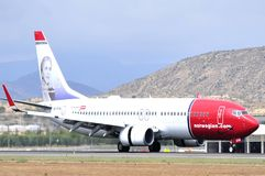 Norwegian air shuttle air line comercial company landing in airport Royalty Free Stock Image