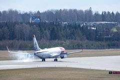 Norwegian Air Shuttle ASA, Boeing 737-8JP lądowanie fotografia royalty free