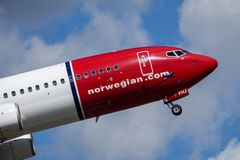 Norwegian Air Shuttle ASA, Boeing 737 - 800 zdejmowali zdjęcia stock