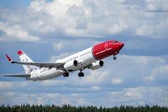Norwegian Air Shuttle ASA, Boeing 737 - 800 zdejmowali obraz stock