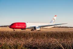Norwegian Air shuttle Boeing 787-9 Dreamliner airplane in Copenhagen airport. Copenhagen Denmark - March 18. 2018: Norwegian Air shuttle Boeing 787-9 Dreamliner Royalty Free Stock Images