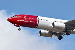 Free Norwegian Airlines Aircraft Preparing To Land. Royalty Free Stock Photos - 127781378
