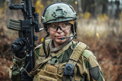 Norwegian Armed Forces female soldier Stock Photography