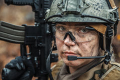 Norwegian Armed Forces female soldier Stock Images