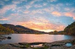 Norwegian autumn sunset landscape Royalty Free Stock Image