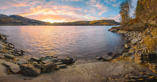 Norwegian autumn sunset landscape Royalty Free Stock Photos